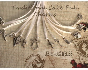 12 pcs Traditional Wedding Cake Pull Charms - White  or Ivory Ribbons (CP03)