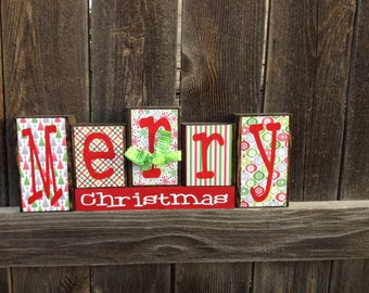 Christmas wood blocks (bright)  Merry Christmas Blocks