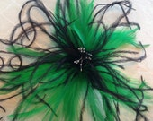 Kelly Green & Black ostrich feather fascinator hair clip accessory bridal derby
