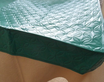 Turquoise vinyl card table cover / vintage quilted tablecloth for card playing / mid century modern card table cover