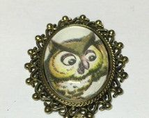 Friend Owl small Cameo Brooch or Necklace. Repurposed disney Bambi vintage Storybook illustration