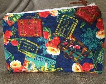 Travel Print Zipper Pouch/Makeup Bag