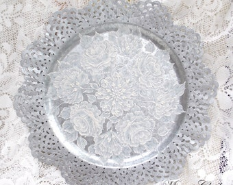 Galvanized Metal Plate with 3D Texture Painted Flowers