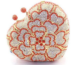 Swarovski ELEMENTS Delicate Red silver Heart shape Rhinestone Crystal Metal case box clutch bag - Valentines gift!
