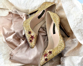 Custom handmade Swarovski Crystal Glitter Bridal High Heel Gold Burgundy Red closed pump pointed court