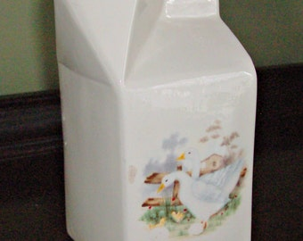 Vintage Ceramic Milk Carton Server