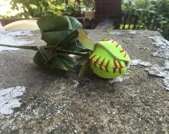 Softball Baseball Roses/ Softball Baseball Flowers made from Real Softballs and Baseballs great for gifts