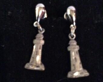 Pewter light house earrings 1 in