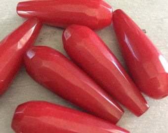 Jade Beads, Faceted Elongated Tear Drop, Candy Apple Red, 29mm x 11mm wide, 6 pieces