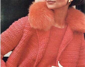 Chic 1960's Crochet Coat Pattern