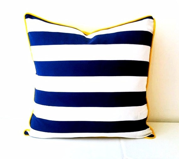 Nautical Blue and White Stripes Throw Pillow Cover, Beach Style Cushion, Free Shipping