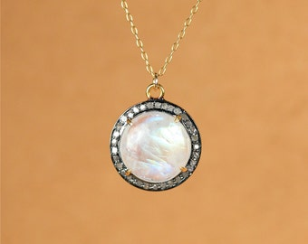 Rainbow moonstone and diamond necklace - moonstone pendant necklace - pave diamond necklace - april birthstone necklace - gemstone necklace