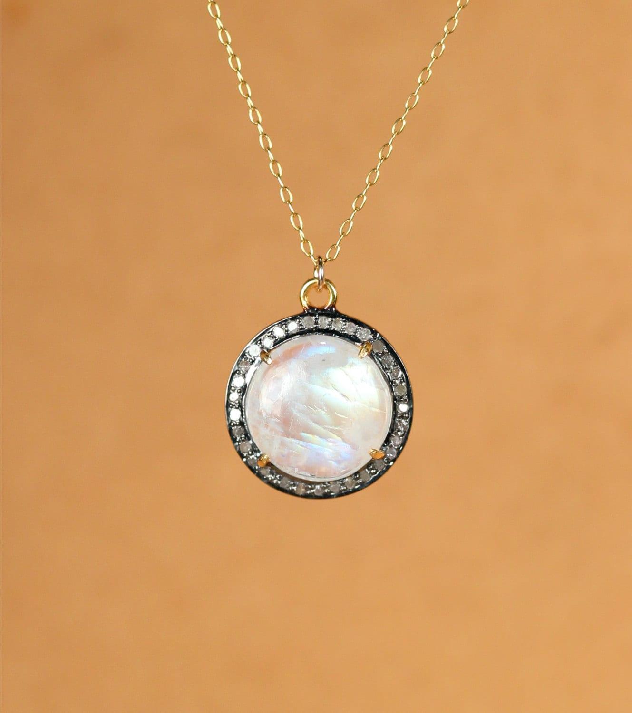 Moonstone Necklaces: Rainbow Moonstone And Diamond Necklace Moonstone Pendant