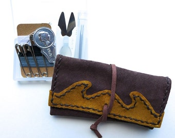 Travel sewing set & Leather pouch, Travel sewing kit, Suede, Brown, Handstitched