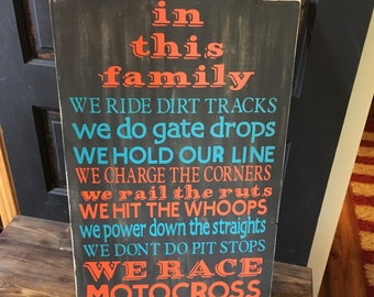 In This Family We Race Motocross Sign