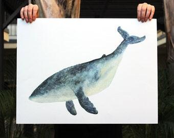 """XL Lone Whale Print - 18"""" x 24"""""""