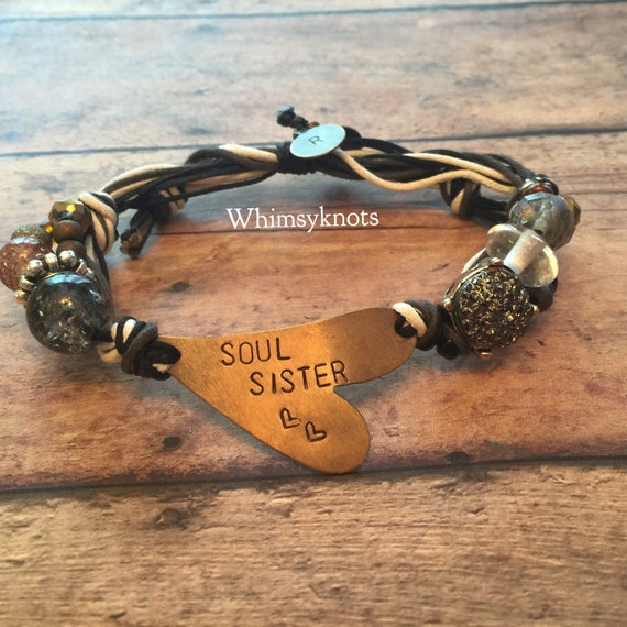 Soul Sisters, Custom jewelry, sister, Friend gift/ gift for friend/ custom gift/ Personalized Heart Bracelet- Hand-Stamped Jewelry