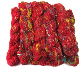 Banana Silk Vegan Yarn,  Red Mix