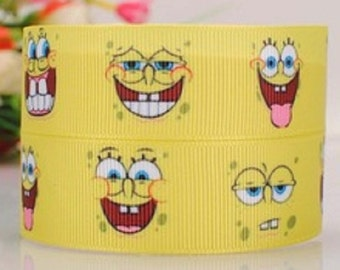 "Sponge bob Square Pants Themed Ribbon - 1"" - 25mm Wide - 2 Meters - Yellow - Faces"