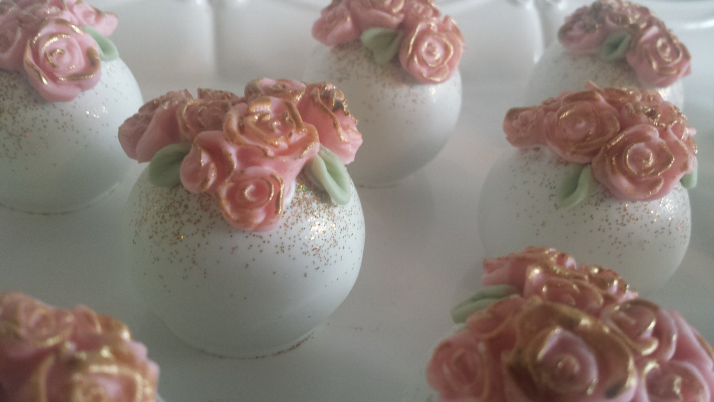 Garden Themed Cake Balls Flower Cake Bites bridal shower