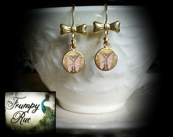 Emmaline, Vintage Style Butterfly and Bow Earrings