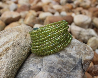 Girls with Vision Olive Green Beaded Bracelet Adult/Teen Size