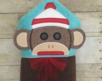 Sock mokey hooded towel. Sock monkey bath towel. Monkey towel.