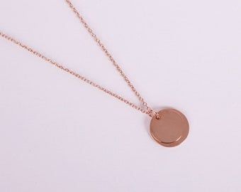 Rose Golden Necklace Disc Rosegold  Coin Rose Gold Necklace