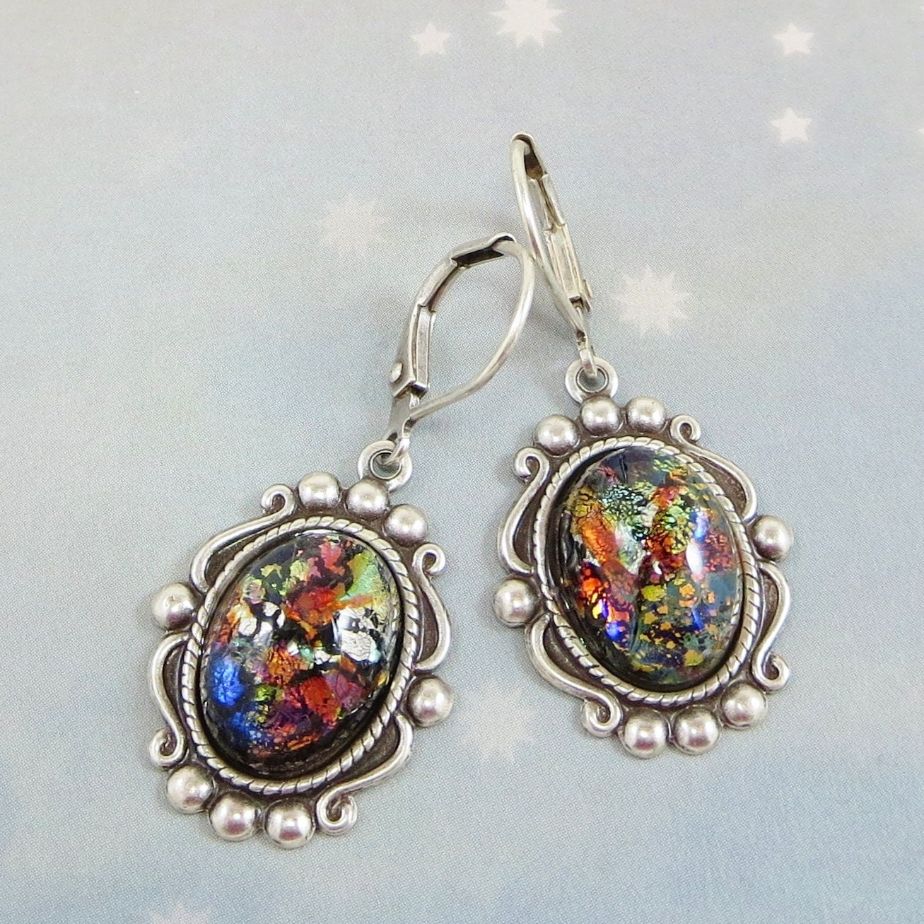 black fire opal earrings dangles black opal earrings rare