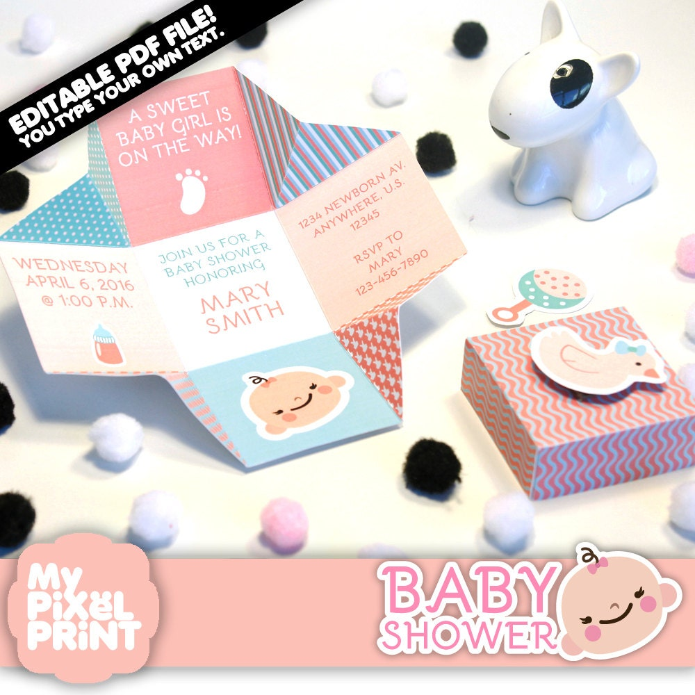Girl Baby Shower Invitation DIY Birthday Box Invitation Cube