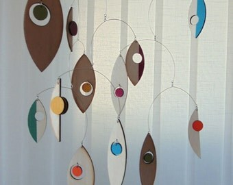 Geometric Mobile, Minimalist Home Decor, Wooden Hanging Mobile