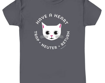TNR Cat Tee Shirt Trap Neuter Return on Grey Slim Fit Ladies' Tee Shirt