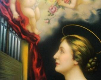 "Beautiful Lithograph Saint Cecilia (Sancta Caecilia) the Patroness of Musicians 16-1/2"" by 13"""
