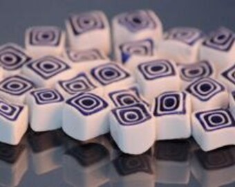 Millefiori Murrano - Opaque White/Transparent Dark Blue Square 50 pieces