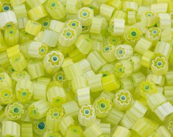 Millefiori Murrano - Transparent/Opaque yellow/aqua 50-60 pieces