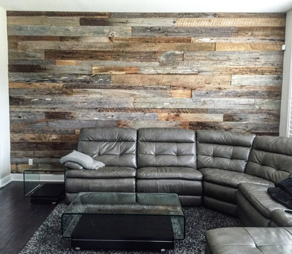 Wood Panel Accent Wall ~ Reclaimed wood wall accent kits