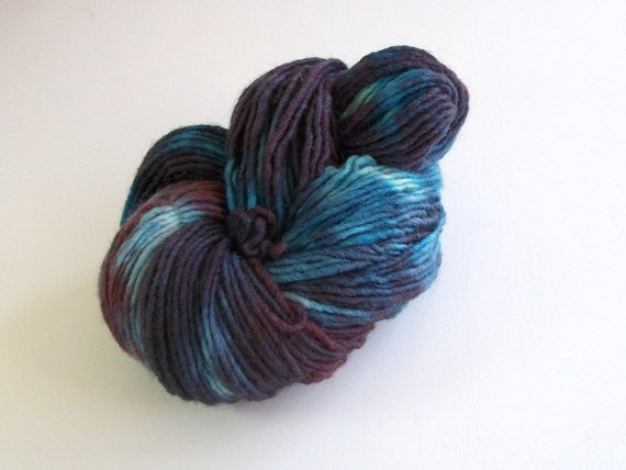 Worsted Weight Yarn : Hand dyed wool yarn worsted weight, handpainted yarn wool, 180+ yds.