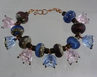 Lampwork Bead and Glass Bracelet