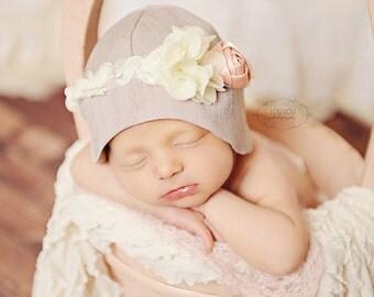 Newborn Cloche hat, baby girl hat, vintage baby hat, newborn baby hat, vintage rosette hat, photography prop, newborn baby girl