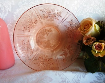Vintage 1920s Pink, Depression Glass, Large Fruit Bowl in Sharon-Pink by Federal Glass