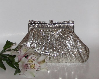 A Gorgeous Vintage Rhinestone and Silver Mesh Evening Bag From the Highly Respected Whiting and Davis Company