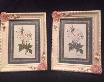 Picture frames - 2 pink shabby chic 5x7 wooden