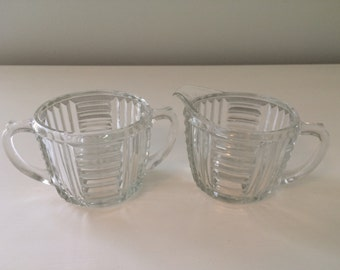 Vintage Clear Pressed Glass Cream and Sugar Set  Art Deco Style