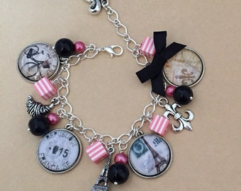 Old Paris Charm Bracelet - Handmade, Unique (FREE or LOW COST shipping)