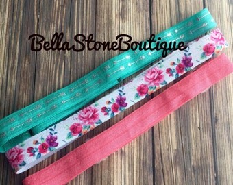 Set of three, floral,coral and arrow adjustable headbands. Fits baby to adult! Fast ship . Rts. Pink floral,coral, silver arrow.