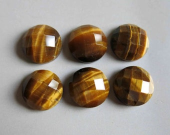25 Pieces Lot Natural Golden Tiger Eye Round Shape Checker Cut Gemstone