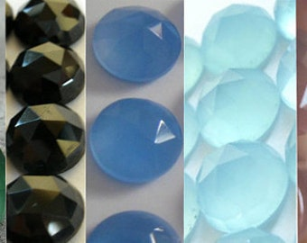 10 Pcs Lot Green Onyx, Black Onyx, Aqua Chalcedony, Blue Chalcedony, Pink Chalcedony 15x15 mm Round Rose Cut Gemstone