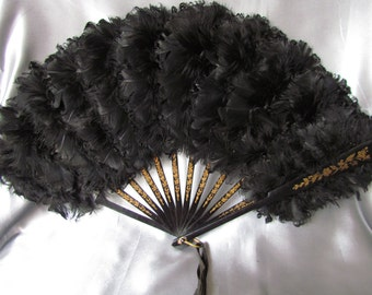 Antique French Black Feather Fan