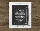 Bless This Food prayer chalkboard 8x10 print UNframed, Instant download print w/ chalkboard-like background