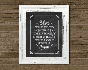 Bless This Food prayer chalkboard 8x10 print UNframed, Instant download print w/ chalkboard-like background